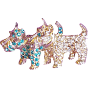 Super Cute SCOTTY SCOTTIE DOGS Rhinestone Vintage Pin Brooch