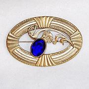 Fabulous VICTORIAN Cobalt Glass Stone Sash Pin Brooch