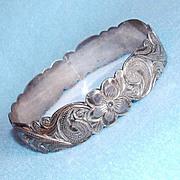 Fine STERLING ENGRAVED FLOWERS Signed Wide Vintage Bangle Bracelet