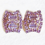 Fabulous LAVENDER RHINESTONE Vintage Earrings