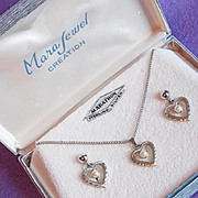 Gorgeous STERLING & CULTURED PEARL Heart Vintage Necklace Set - in Box