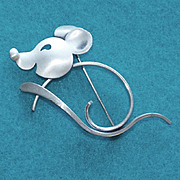 Awesome BEAU STERLING Signed Vintage MOUSE Pin Brooch