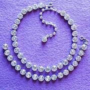 Brilliant Sparkling DENTELLE RHINESTONE Vintage Necklace Set