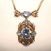 Fabulous HOLLYCRAFT Signed BLUE RHINESTONE Necklace COPR 1954
