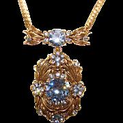 Fabulous HOLLYCRAFT Signed BLUE RHINESTONE Necklace COPR 1954