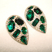 Sparkling ART DECO Pair of Matching GREEN & CLEAR Rhinestone Vintage Estate Dress Clips