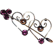 Romantic HEART & ARROW Signed 12K GF on Sterling Vintage Pin Brooch