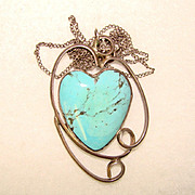 Beautiful STERLING & TURQUOISE Heart Shaped Pendant Necklace