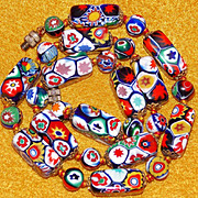 Fabulous ITALIAN MILLEFIORI GLASS Beads Vintage Necklace