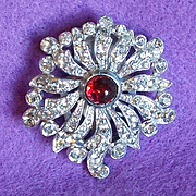 SOLD Gorgeous ART DECO Red Glass & Rhinestone Vintage Clip