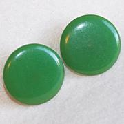 Awesome BAKELITE Green Vintage Clip Earrings