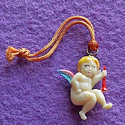 Vintage Celluloid CUPID OR ANGEL Estate Charm