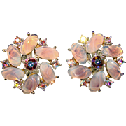 Gorgeous Vintage LAVENDER OPALESCENT Poured Glass Stones & Rhinestone EARRINGS