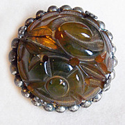 Gorgeous CARVED BAKELITE Vintage Pin Brooch