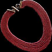 Fabulous ART DECO Red Enamel Ball Chain Vintage Necklace