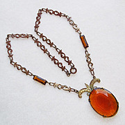 Gorgeous ART DECO Amber Brown Glass Vintage Necklace