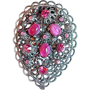 Gorgeous ART DECO Pink Glass & Rhinestone Vintage Dress Clip