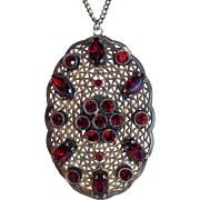 Gorgeous ART DECO Red Rhinestone Filigree Pendant Necklace