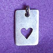 Romantic STERLING PEEK A BOO HEART Vintage Pendant