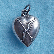 Gorgeous 1940s STERLING CUPIDS BOW Vintage Puffy Heart Charm