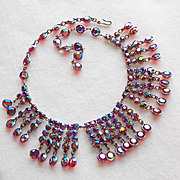 Spectacular RED AURORA RHINESTONE & Crystal Vintage Dangle Necklace