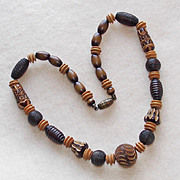 Art Deco CARVED CELLULOID Beads Vintage Necklace
