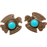 Gorgeous STERLING & BLUE STONE Thunderbird Vintage Earrings