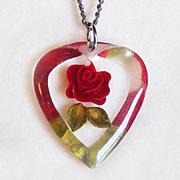 Vintage CARVED LUCITE HEART Red Rose Vintage Pendant Necklace