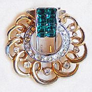 Tiny BOUCHER Signed Green & Clear Rhinestone Fur Clip - As Found