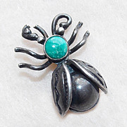 Awesome Tiny BUG Sterling & Turquoise Vintage Pin Brooch