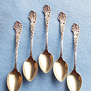 Gorgeous ANTIQUE STERLING Signed Demitasse Spoon Set