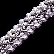 Gorgeous CORO Signed Wide Leaf Vintage Bracelet