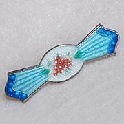 Antique GUILLOCHE ENAMEL Small Pin Brooch