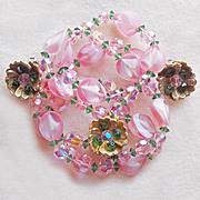 Fabulous PINK GIVRE GLASS & Crystals Vintage Necklace Set