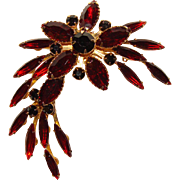 Fabulous RED & BLACK RHINESTONE Vintage Estate Pin Brooch