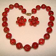Fabulous RED Venetian Murano Glass Vintage Estate Necklace SET
