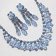 Fabulous BLUE GIVRE GLASS & Rhinestone Vintage Necklace Set