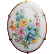 Gorgeous VICTORIAN Handpainted Porcelain Pin Brooch