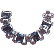 Gorgeous SMOKE RHINESTONE Wide Chunky Vintage Bracelet