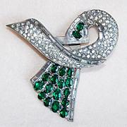 Fabulous ART DECO Green & Clear Rhinestone Vintage Dress Clip