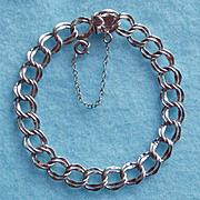 Vintage STERLING DOUBLE LINK Signed Charm Starter Bracelet