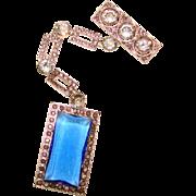 Fabulous ART DECO Long Blue Crystal Stones BROOCH