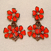 Awesome Vintage ORANGE FLOWER Rhinestone Dangle Earrings
