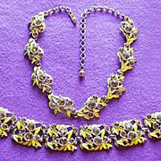 Gorgeous YELLOW ENAMEL & RHINESTONE Vintage Necklace Bracelet Set