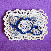 Gorgeous CELLULOID Blue Rose Vintage Pin Brooch