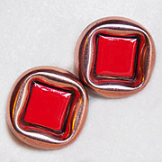 Matisse Renoir Red Enamel Signed Modernist Vintage Earrings