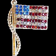 Signed DODDS American Flag Rhinestone Vintage Pin Brooch