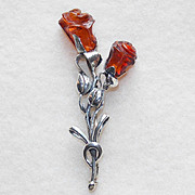 Gorgeous STERLING & CARVED AMBER Double Rose Vintage Pin Brooch