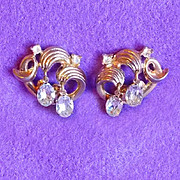 Gorgeous TRIFARI Signed Clear Rhinestone Vintage Earrings