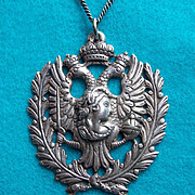 Fabulous ITALIAN 800 SILVER Lady Bird & Snake Vintage Pendant Necklace